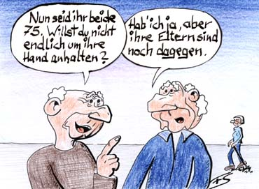 Verspäteter Antrag - Cartoon